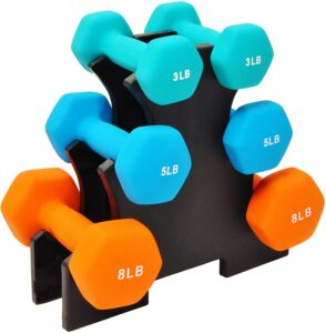 Balance From Colored Neoprene Coated Dumbbell Set with Stand